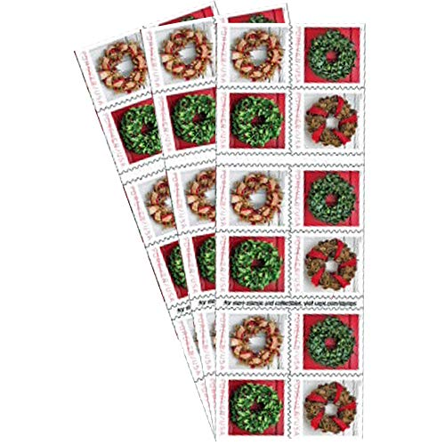 Holiday Wreaths 3 Books of 20 Forever US First Class Postage Stamps Christmas Tradition Celebration (60 Stamps)