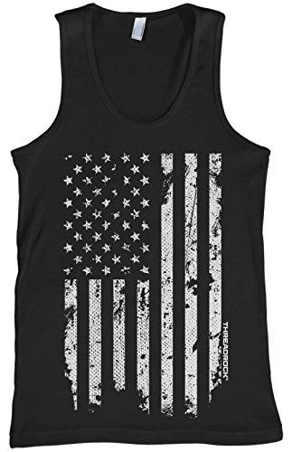 Threadrock Men's White American Flag Tank Top L Black
