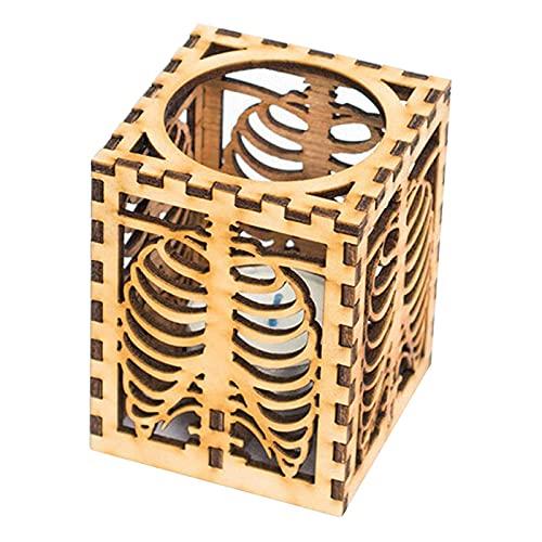 Candelabro in legno a forma di teschio, per Halloween, decorazione creativa per feste, rustico, per matrimoni, centrotavola, decorazione per la casa, per interni ed esterni