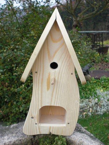 Dekorativer Nistkasten(NB1)-mit Vogelfutterhaus zum selbst bauen-Bausatz-Vogelhaus-Vogelhäuschen-Vogelhaus Garten Deko