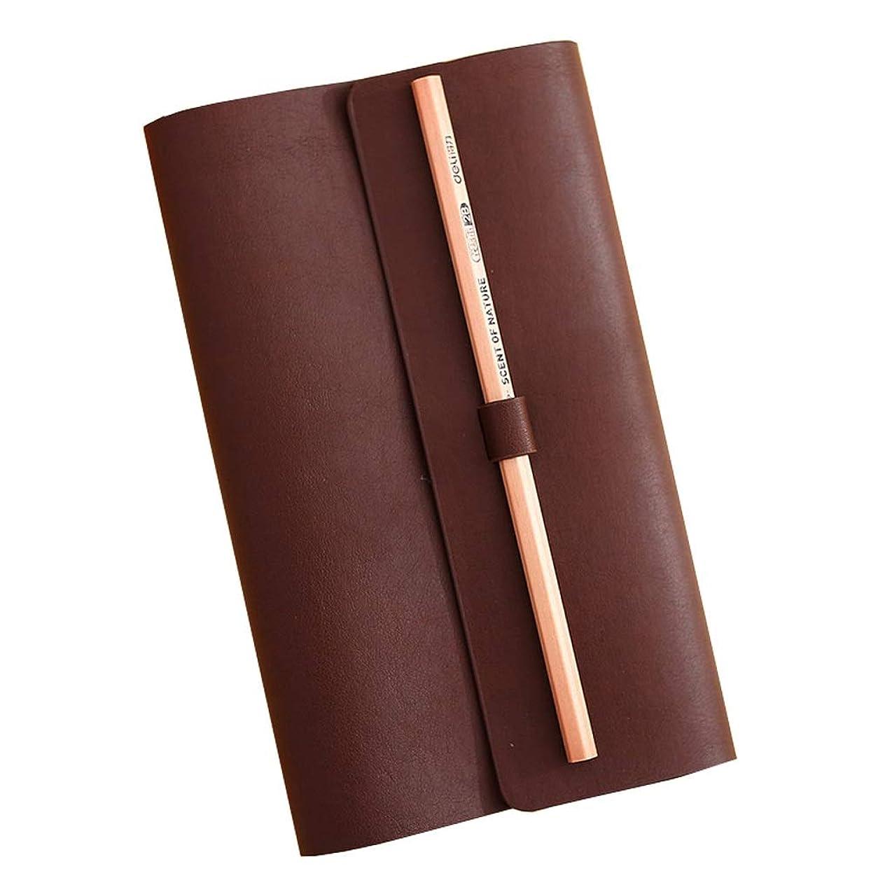 厚手のノート ノートブック文具用品文具旅行レザーノートブックビジネスノートブックシンプルポータブルポータブル ポータブル (Color : Brown)