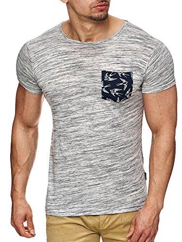 Indicode Herren Blaine T-Shirt mit Rundhals-Ausschnitt und Brust-Tasche | Slim Fit Kurzarm Shirt Herrenshirt Sommer Tee meliert Männershirt Markenshirt Freizeitshirt für Männer Grau XL