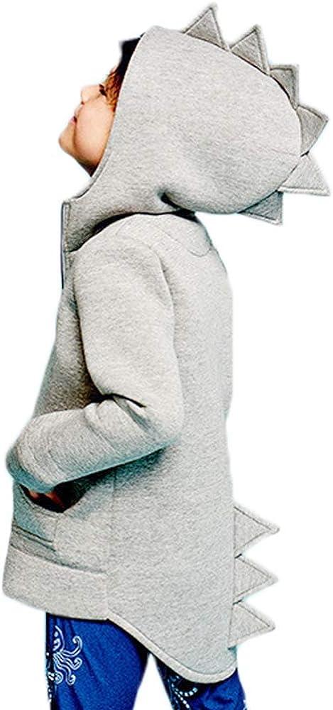 New color Charm Kingdom Baby Boys Long Hoodies Max 47% OFF Toddler Zip Dinosaur Sleeve