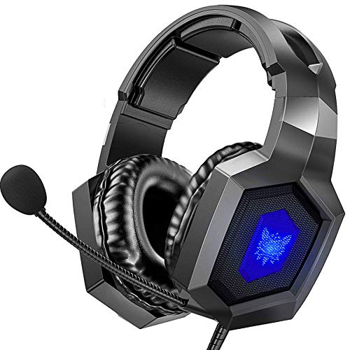 Gaming Headset, ONIKUMA Stereo Gaming Headset for PS4, Xbox One Headphones with 7.1 Surround Sound, Noise Cancelling Mic, 7 RGB LED Lights, Soft Memory Earmuffs for PC, Mac, Laptop (Black)