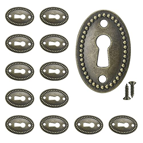 LYTIVAGEN 20 PCS Keyhole Cover Zinc Alloy Profile Keyhole Anti-Rust Keyhole Cover Esutcheon Chinese Style Cover Plate Esutcheon with 40 Screws for Cabinets, doors and drawers (Green Bronze, 24mm)