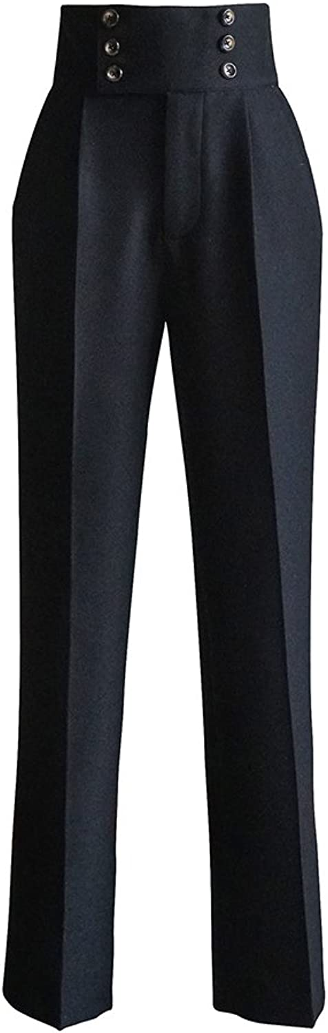 Exclusive Gothic Vintage Designer Fashion High Waist Double Breasted Pants