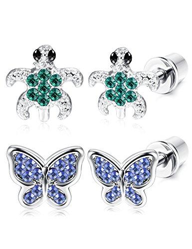 ORAZIO 2 Pairs Stainless Steel Turtle Earrings for Girls Women Butterfly Stud Earrings Screwback Silver Tone (D:Tortoise and Blue Butterfly)