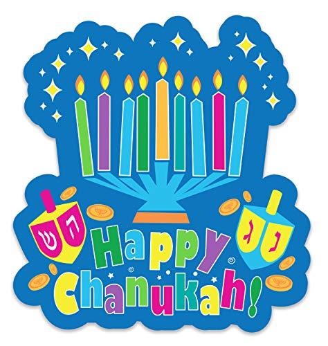 Izzy 'n' Dizzy Hanukkah Window Cling - 3D Silicone Decorated Happy Chanuka Window Cling - Hanukkah Décor - Holiday Party Decoration