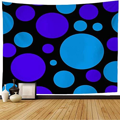 N\A Tapiz para Colgar en la Pared, círculo de Azulejos, Lunares Azules, Texturas en Negro, Que harán Que LY Design Dot, gráfico de Moda, patrón, Tapiz Vintage para Dormitorio, hogar, Dormitorio