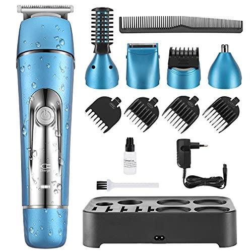 Máquina Cortar Pelo Profesional Cortapelos Hombre Recortadora Barba y Cortadora de Pelo Recortadora de Barba/Cara/Cuerpo/Nariz/Orejas/Ceja, 10 en 1 Set de Afeitado Multifunción (azul) (azul)