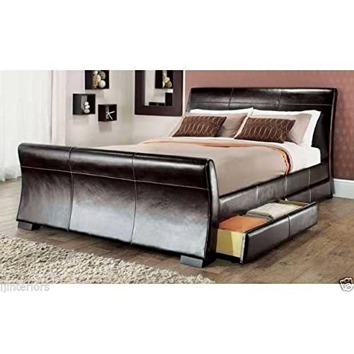 IJ Interiors - 4 DRAWERS LEATHER STORAGE SLEIGH BED DOUBLE OR KING SIZE BEDS  + MEMORY c42fa990fd