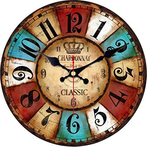 VIKMARI Quarz Wanduhr Holz Leise Hängende Uhr, Batteriebetriebene Runde Rustikale Uhr, Leicht Zu Lesen Vintage Innenwanduhr |Bunte Arabische Ziffern|14