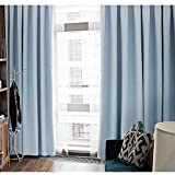 HHJJ Cortinas de verano para protección solar, color sólido, aislamiento grueso, para sala de estar, dormitorio, ventana, cortinas opacas, 1 paneles, azul, 117 x 230 cm -84954S7E7N