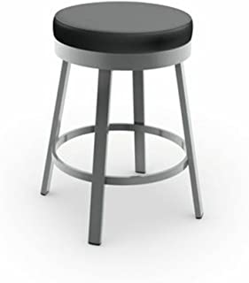 Amisco Clock Swivel Metal Counter Stool, 26-Inch, Grey Metal and Mat Charcoal Black Polyurethane