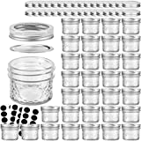 VERONES Mason Jars Canning Jars, 4 OZ Jelly Jars With Regular Lids and Bands, Ideal for Jam, Honey, Wedding Favors, Shower Favors, Baby Foods, DIY Magnetic Spice Jars, 32 PACK,Extra 32 Lids