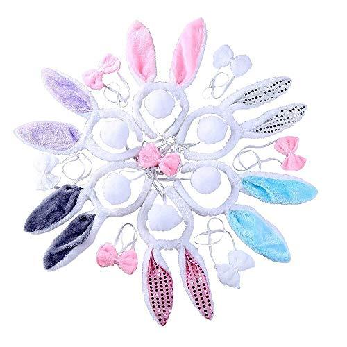 CCINEE - 6set da coniglietto pasquale: cerchietto con orecchie + papillon + coda, costume per Pasqua