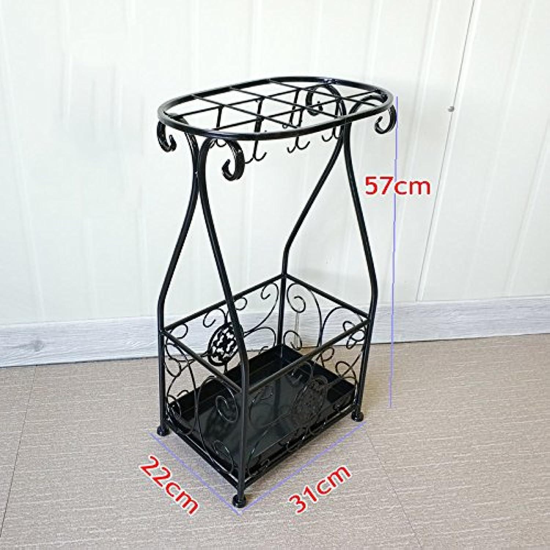 NYDZ Umbrella Stand Iron Art Hotel Lobby Umbrella Shelf Floor-Standing Household Folding Home Umbrella Barrel Shelf Square 31  22  57cm (color   Black)