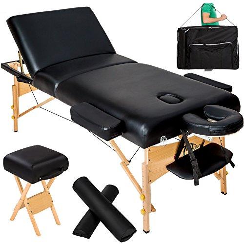 TecTake Lettino Massaggi 10cm Imbottitura Estetista Massaggio Portatile - Disponibile in Diversi Colori - (Nero | No. 400278)
