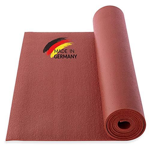 Yogibato Esterilla de Yoga Studio de PVC – Certificado Oeko-Tex 100 – Fabricado en Alemania – Antideslizante y Duradera – Colchoneta para Gimnasia Pilates Fitness [183x60x0,45cm] – Granate