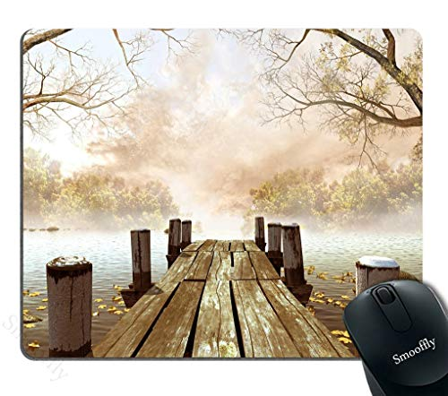 Gaming Mouse Pad Ocean Fall Wooden Bridge Seasons Lake House Nature Country Rustic Seascape Desktop Mouse pad Brown Beige Khaki Yellow