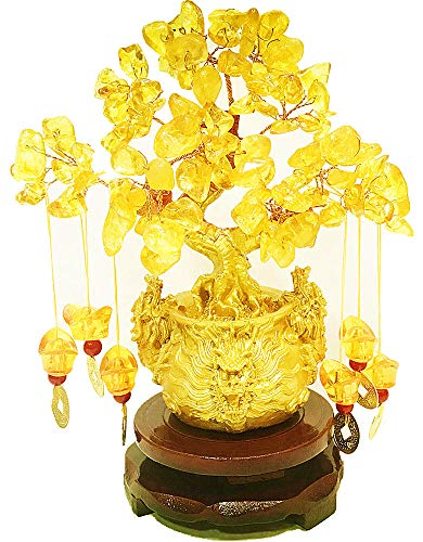 Pan source Feng Shui Citrine/Citrine Money Tree and Citrine Tree, Faucet Crystal Tree/Chinese Dragon Fortune Crystal Tree/Gift Tree