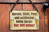 """schilderkreis24 – Blechschild Lustiger Bier Spruch """"Gicht, Pest."""" Deko Wein Küche Bar Theke Biergarten Stammtisch Kneipe Humor witzige Geschenkidee Geburtstag Weihnachten 18x12 cm (A - Corona Bier)"""