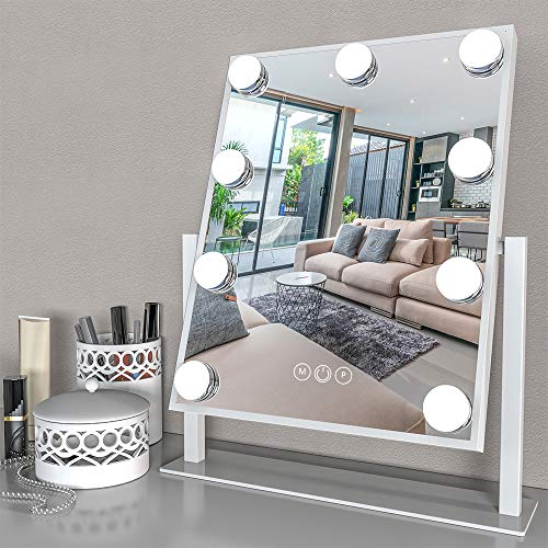 Fenair Lighted Vanity Mirror - Hollywood Style Makeup Vanity Mirror with Lights and Magnification,3 Color Model, Cosmetic Mirror with 9 Detachable Dimmable Bulbs for Dressing Table(White)