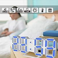 CUTICATE デジタル3D LEDデスククロックウォッチスヌーズ12/24時間 - ホワイト+ブルー