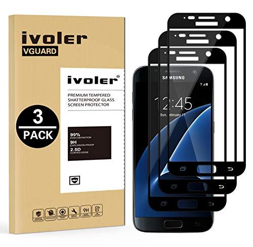 ivoler [3 Unidades] Protector de Pantalla Compatible con Samsung Galaxy S7, [Cobertura...
