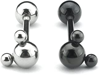 Pair Of Mickey Design Steel Tongue Rings - Straight Barbell - 14G - 1.6mm