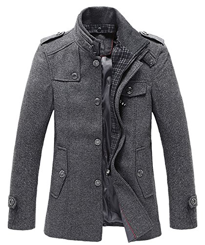 chouyatou Men's Winter Stylish Wool Blend Single Breasted Military Peacoat (Large, Gray)
