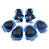 Kids Protective Gear SKL Knee Pads for Kids Knee and Elbow Pads with Wrist Guards 3 in 1 for Skating Cycling Bike Rollerblading Scooter (Blue, [Upgraded Vistion 3.0]), Medium