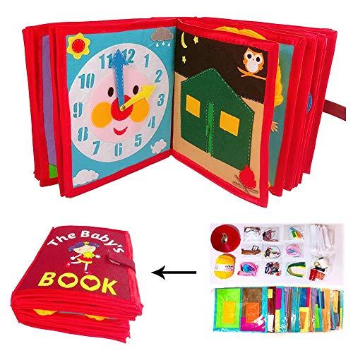 Waroomss Libro De Tela Educativo Bebé Tela No Tejida Libro Blando De Fieltro Para El Desarrollo Aprendizaje Y Estimulación De Los Niños Pequeños Juguete Sensorial Y Educativo