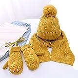 AYDQC Sombrero de bebé de Invierno con Guantes de Bufanda 3 PCS/Set Crochet...