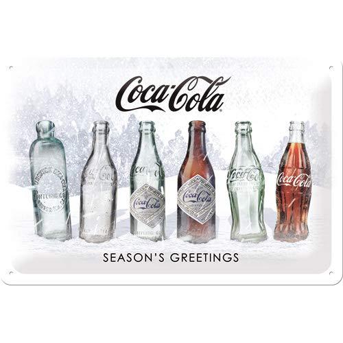 Nostalgic-Art 62753 Coca-Cola – Snow White Bottles – Idée Cadeau pour Les Fans de Coke, en métal, Design Vintage, 20 x 30 cm