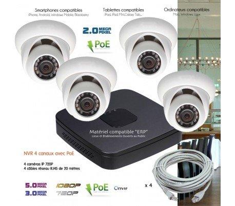 Telecamere videosorveglianza IP–Sistema di video sorveglianza IP IP con 4telecamere dome–kit-d24443–4x 25–Disco rigido da 1TB