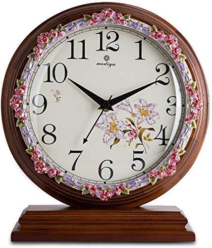 LHQ-HQ Sala de estar reloj de madera maciza europeo Tranquilo simple reloj moderno Dormitorio creativo (color : MARRÓN)