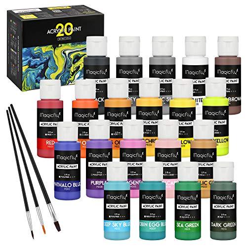 Magicfly 20 Farben waschfeste Acrylfarbe Set, je Flaschen 60ml, mit 3 zusätzlichen Pinseln, ideal für Leinwand, Papier, Holz, Stein, Keramik, Modell
