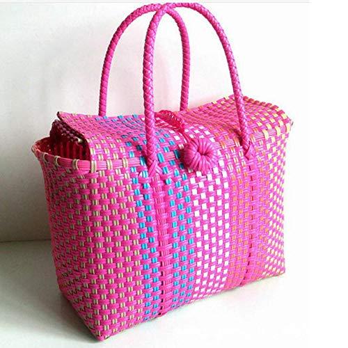 XFYS Frauen langlebige gewebte Strandtaschen für Frauen gewebt Eimer Tasche Freizeit Frauen Handtasche Lagerung Strohbeutel Kunststoff gewebt Korb-Rose rot