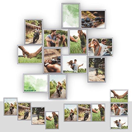 Kunststoff Bilderrahmen Fotorahmen Collage zum individuellen gestalten 12x 13x18cm Silber mit Normalglas und Klammern