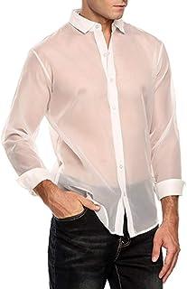 Agoky Men's See Through Button Down T-Shirt Clubwear Mesh Sheer Long Sleeve Shirt Tops