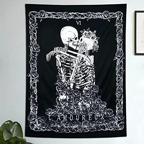 Tapiz de Calavera Los Amantes de los Besos Tapiz Colgante de Pared En Blanco y Negro Tapiz de Esqueleto Humano con Corona de Rosas Tapices de decoración para el hogar