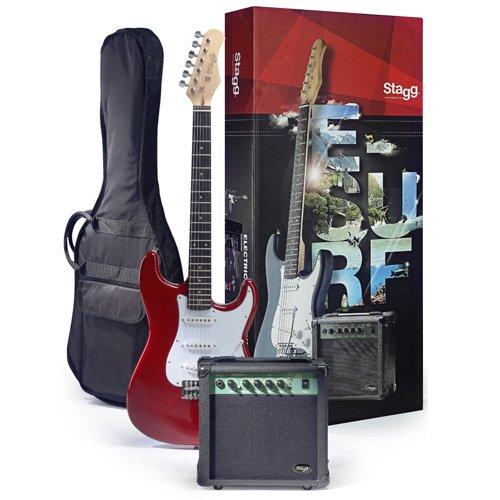 Stagg 25018454 ESURF 250 TR EU standaard S elektrische gitaar incl. versterker rood