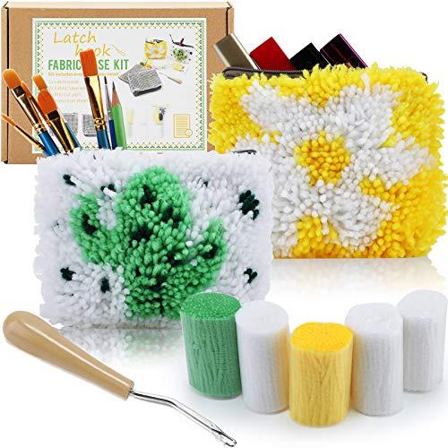 2 Pieces Cute Latch Hook Kit Starter Pencil Bag Make Up Bag Cosmetic Bag DIY Sewing Kit Flower and Cactus Latch Hook Craft Kit for Kids Beginners DIY Bag