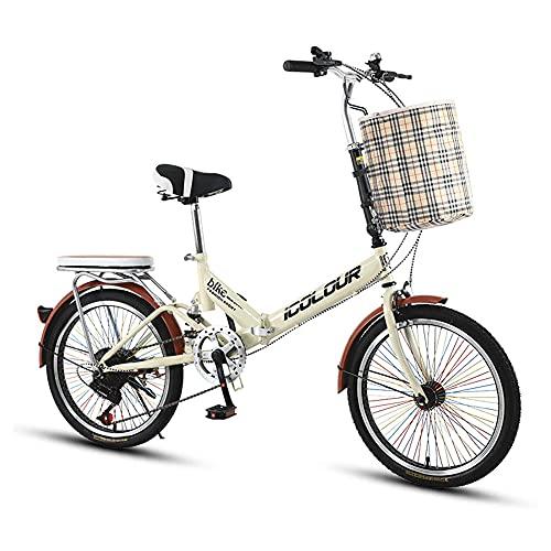 Bicicleta, Bicicleta de CercaníAs PortáTil, Bicicleta de Ocio Urbana de 20 Pulgadas, Marco Plegable de Bajo Alcance, Ajustable de 6 Velocidades, Que Pueden Usar Tanto Hombres Como Mujeres /