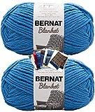 Bernat Blanket Yarn - Big Ball (10.5 oz) - 2 Pack with Patterns (Blue Velvet)