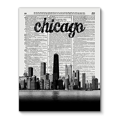 Chicago Skyline with City Name, Vintage Dictionary Art Print Reproduction Contemporary Wall Art For Home Decor, Modern Boho Art Print Poster, Country Farmhouse Wall Decor 11x14 Inches, Unframed