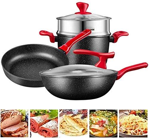 LMDH Conjunto de utensilios de cocina de cocina, utensilios de cocina de cocina conjuntos woks & stead-fry sarteza, conjunto de ollas y sartenes, conjunto de utensilios de cocina antiadherente de 6 pi