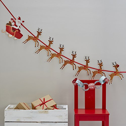Ginger Ray Christmas Santa and Reindeer Decoration Bunting 1.8 Meters, Red