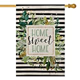 AVOIN Watercolor Stripes Home Sweet Home House Flag Double Sided, Spring Summer Leaves Yard Outdoor Decoration 28 x 40 Inch